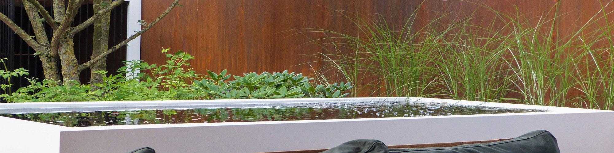 Wasserbecken und Teichmauern aus Aluminium