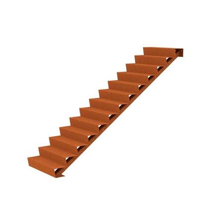 Cortenstahl Treppe 13 Stufen(Weitere Größen)