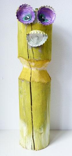 Holzskulptur Masken Figur, rund