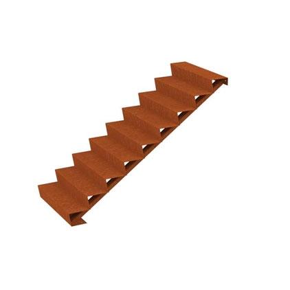 Cortenstahl Treppe 9 Stufen(Weitere Größen)