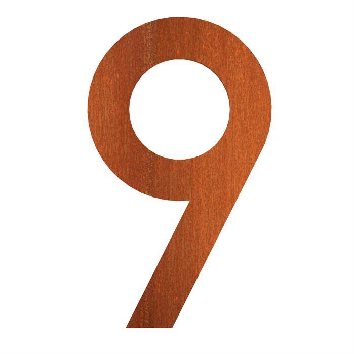 Hausnummer 9 Cortenstahl