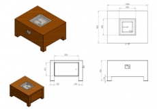 Brann Gaskamin Corten VBC2/1000x800x500 mm