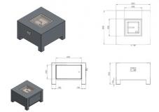Brann Gaskamin AluminiumVBA3/800x800x500 mm