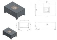 Brann Gaskamin AluminiumVBA1/1200x800x500 mm