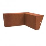 Stützmauer breit /Innenecke aus Cortenstahl 1000x1000x600 mm
