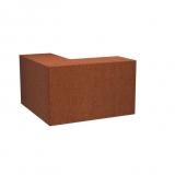 Stützmauer breit /Außenecke aus Cortenstahl 1000x1000x600 mm