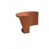 Stützmauer breit /Innenbogen aus Cortenstahl 1000x1000x600 mm