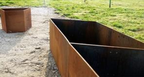 Metalltrockenmauer, Anfangs- oder Endstück